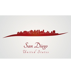 San diego skyline in red vector