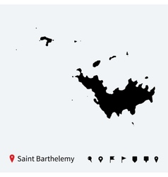 High detailed map of saint barthelemy with pins vector