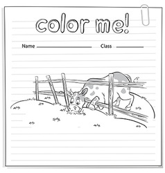Coloring worksheet with a cow vector