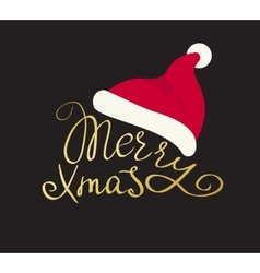 Merry christmas golden handmade lettering vector