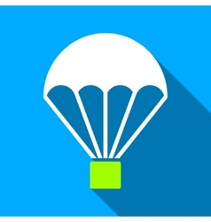 Parachute flat long shadow square icon vector