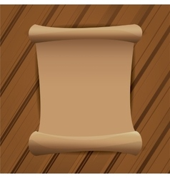 Old scroll paper on wooden table background vector