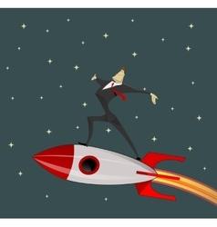 Businessman on rocket vector