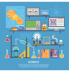Science research laboratory flat banner vector