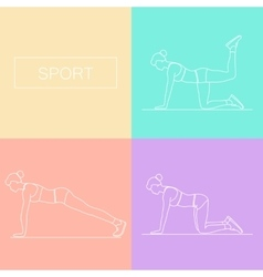 Female exercising silhouette vector