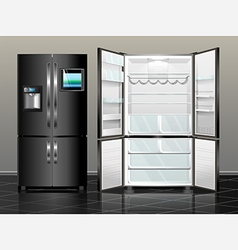 Black fridge vector