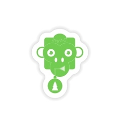 Paper sticker on white background monkey christmas vector