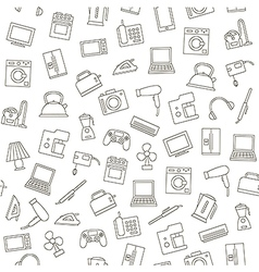 Electronics pattern black icons vector