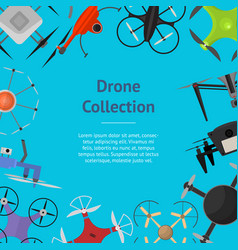 Air drone color drone banner card vector