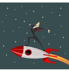 Businessman on rocket vector image vector image