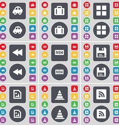 Car suitcase apps rewind new floppy media file vector
