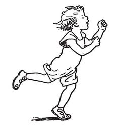 Child running vintage vector