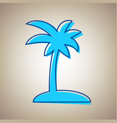 coconut palm tree sign sky blue icon with vector image