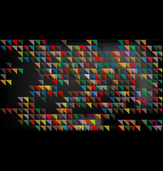 colorful triangles deep in black background vector image vector image