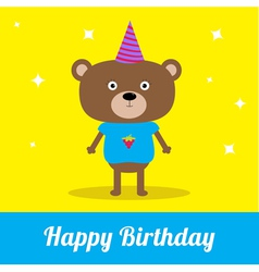 Cute cartoon bear with hat Happy Birthday party ca vector image vector image
