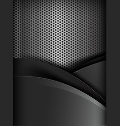Dark chrome black and grey layer element vector image