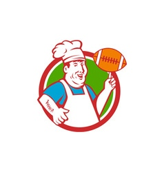 Fat chef cook twirling football circle retro vector