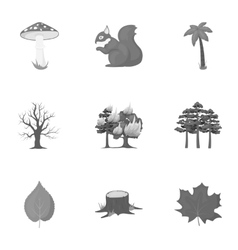 Forest set icons in monochrome style Big vector image