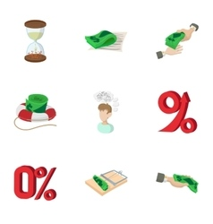 Funding icons set cartoon style vector image