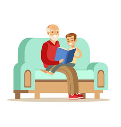 grandfather and boy reading a book part of vector image
