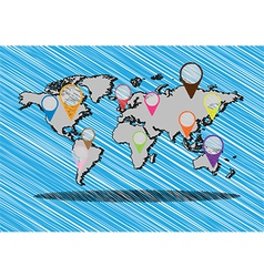 hand drawn globe and application doodles vector image vector image