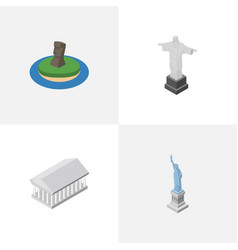Isometric architecture set of new york chile vector