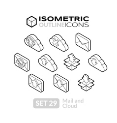 Isometric outline icons set 29 vector