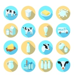 Milk flat icons set vector