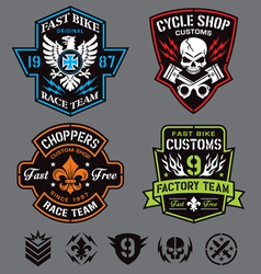 motorcycle patches vector image vector image