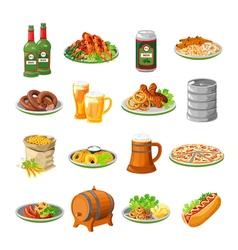 Oktoberfest Beer Food Flat Icons Set vector image vector image