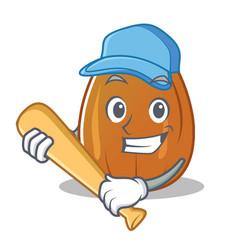Playing baseball almond nut character cartoon vector
