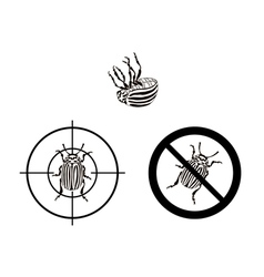 Prohibition sign colorado beetles vector