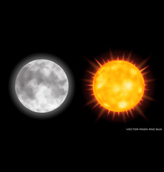 realistic moon and sun on dark background vector image vector image