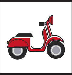 Red small scooter vector