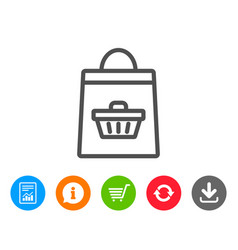 Shopping bag line icon supermarket buying sign vector