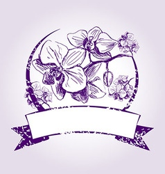 Vintage label with orchids vector image vector image