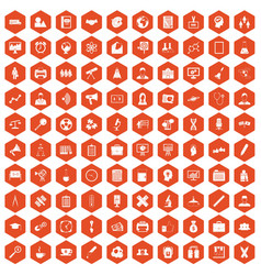 100 seminar icons hexagon orange vector
