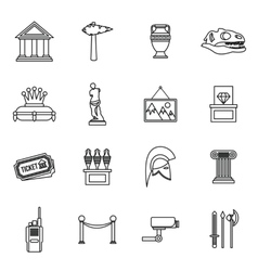 Museum icons set outline style vector
