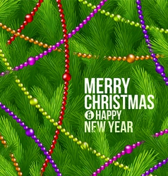 Christmas tree branches and color decor vector image