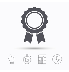 Medal icon winner award emblem sign vector