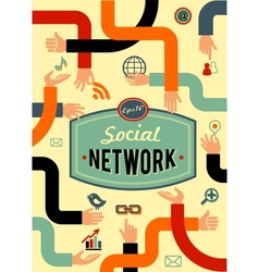 Social network media and communication in vintage vector