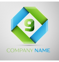 Number nine logo symbol in the colorful rhombus vector