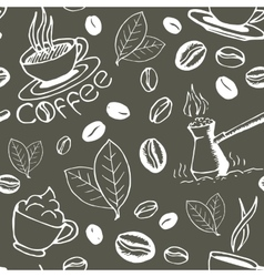 Coffee Hand Drawn Seamless Pattern vector image