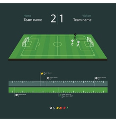 Soccer field with set of infographic elements vector