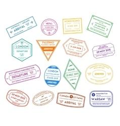 Travel stamps color set vector