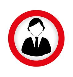 Circular emblem with half body man in formal suit vector