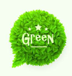 green leaves circle speech bubble isolated on vector image