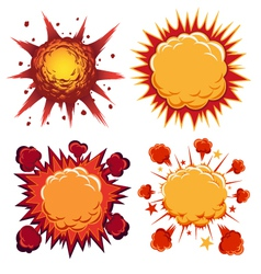 Boom comic book explosion elements vector
