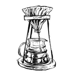 Hand drawn ink graphic vintage coffee maker vector