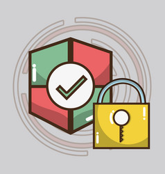Technology shield and padlock services icons vector